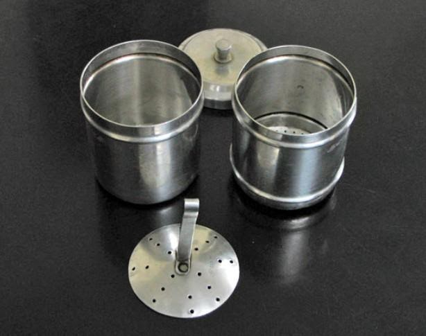 South Indian Coffee Filter – Upper and lower compartment with push ladle and lid
