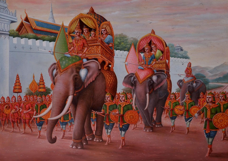 Thailand images showing kings and elephants