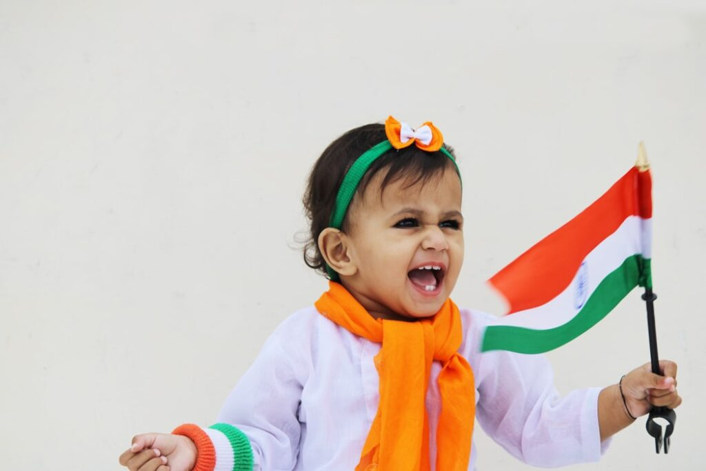 A child cheering in Republic Day Celebrations